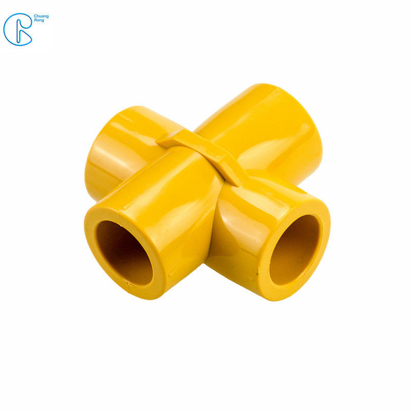Smooth PPR Pipe Fittings PPR 4 Way Cross Tee High Heat / Pressure Resistance